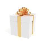 Fototapety Packed luxury gift box with ribbon - 3D rendered image