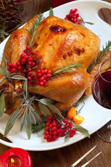 Christmas Turkey Prepared For Dinner