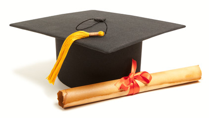 Gortarboard and graduation scroll