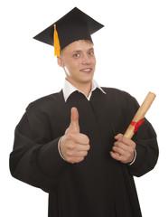 Graduation man holding diploma