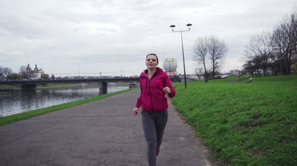 Successful woman happy after run, super slow motion, shot at 240