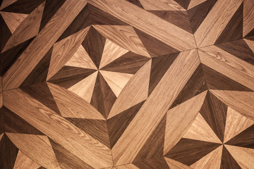 Classical pattern of old brown oak parquet