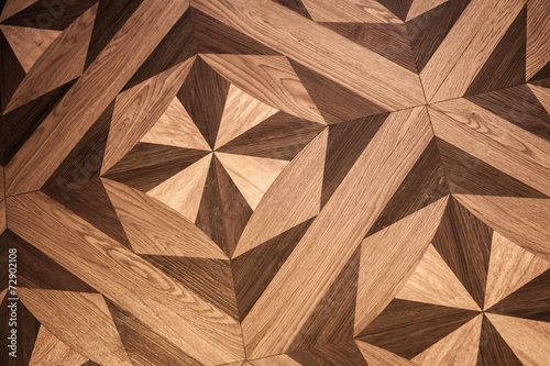 Classical pattern of old brown oak parquet - 72902108