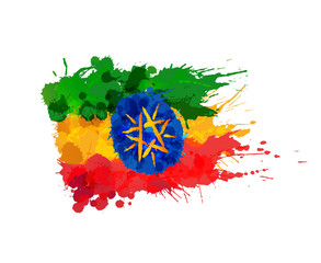 Flag of Ethiopia made of colorful splashes