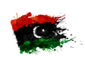 Flag of Libya made of colorful splashes