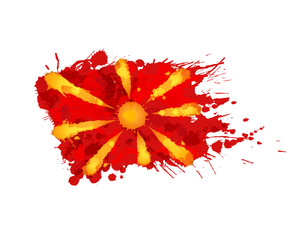 Flag of  Macedonia made of colorful splashes
