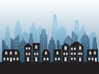 vector black cities silhouette background ,vector illustration