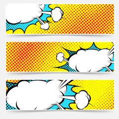 Yellow background pop-art explosion bubble set