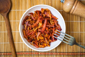 Fried chopped bacon