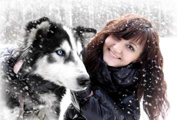 Young woman and dogs siberian husky