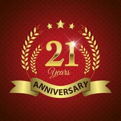 Celebrating 21 Years Anniversary, Golden Laurel Wreath & Ribbon