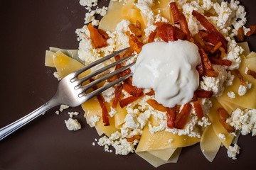 Hungarian cuisine: pasta with cottage cheese, top view