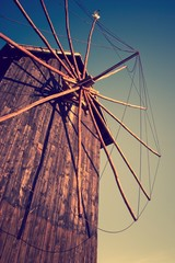 Wooden windmill in Nessebar, Bulgaria