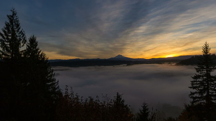 Time Lapse of Sunrise with Rolling Fog and Mt. Hood in Sandy OR