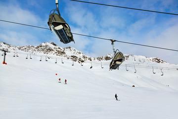 Cableway at mountains ski resort Solden Austria