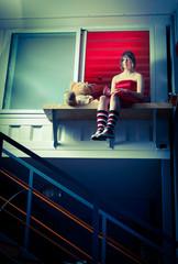 Young teenager girl, indoors shoot.