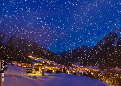 Leinwandbild Motiv Mountains ski resort Solden Austria at sunset