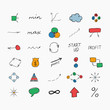 Simple colorful hand drawn icons. Business and start up.