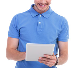casual young man works on tablet