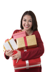 Asia lady hold gift box