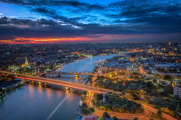 Bangkok highlight view, this point can see many  popular place
