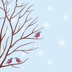 Seasons. Winter tree. Vector illustration.