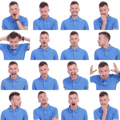 photo set of casual young man expressions