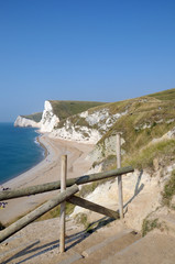Fence protecting coastal path above Durdle Door in Dorset