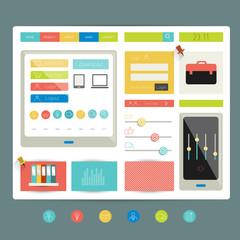 Web site. Flat design elements. Vector.