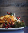 canvas print picture - Festive Thanksgiving or Christmas roast turkey chicken
