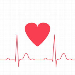 ECG - electrocardiogram with heart on grid