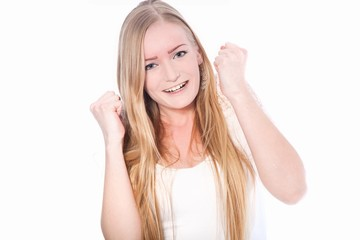 Happy Young Woman with Fists Up