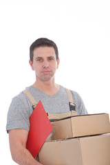 Delivery Man Holding Stack of Cardboard Boxes