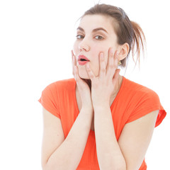 Close Up of Surprised Woman with Hands on Face