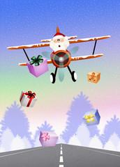 Santa Claus on airplane