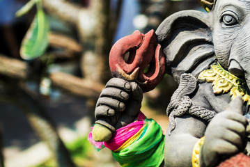An Ganesha made of stone in bali .