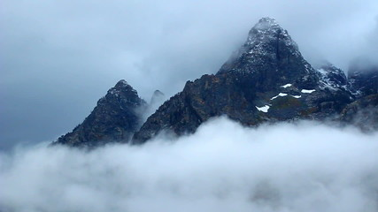 Teton Range Obscured in Clouds