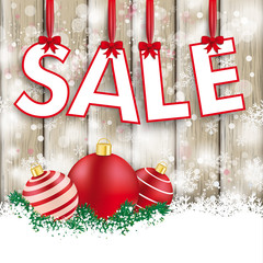 Snowfall Ash Wood Red Baubles Sale