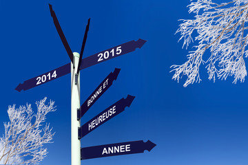 Happy new year 2015 written in French on direction panels
