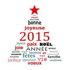 2015 new year french text word cloud greeting card