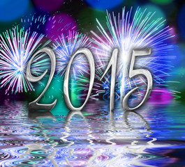 2015, blue fireworks and water reflections