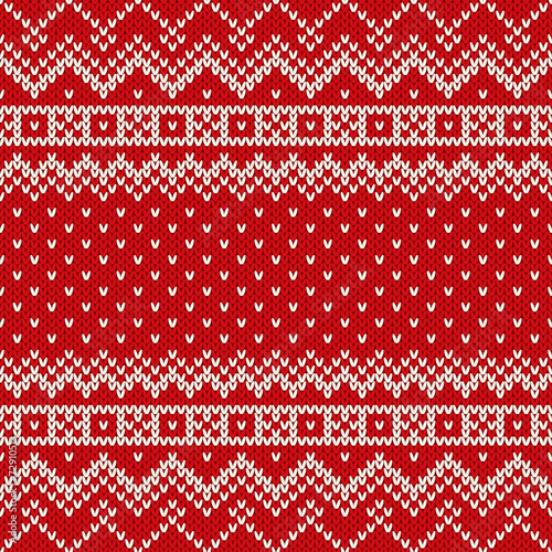 Cotton fabric Nordic traditional Fair Isle style seamless knitted pattern