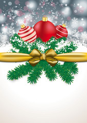 Christmas Golden Ribbon Gray Snowfal Red Baubles
