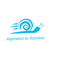 Speedy snail - concept of aspiration to success on white backgro