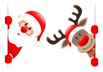 Rudolph & Santa Diagonal Banner