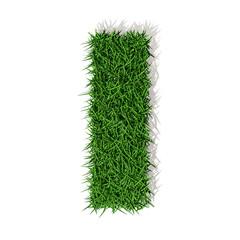 I lettera erba verde, isolata su fondo bianco