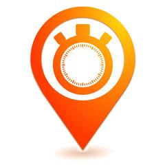 chronomètre sur symbole localisation orange