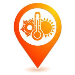 climatisation sur symbole localisation orange
