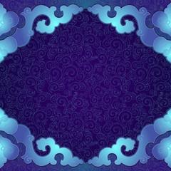 Oriental, folk ornament. Blue background.