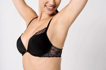 Perfect woman's upper body, closeup.